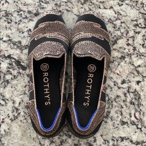 Rothy's Gold Shimmer Loafers, Size 5.5
